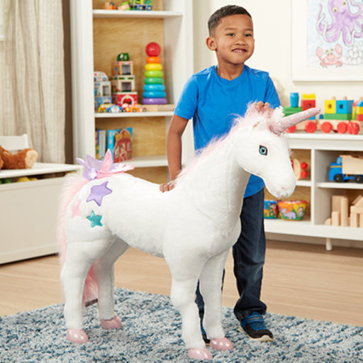 "View a Larger Image of Giant Unicorn, Stuffed Animals & Play Toys, Sturdy Wireframe Construction, Pure White Plush Fur, 32"" H x 45"" W x 12"" L"