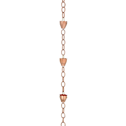 View a Larger Image of Crocus Rain Chain – Polished Copper