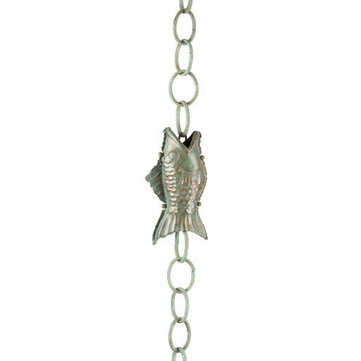 View a Larger Image of Fish Rain Chain – Blue Verde