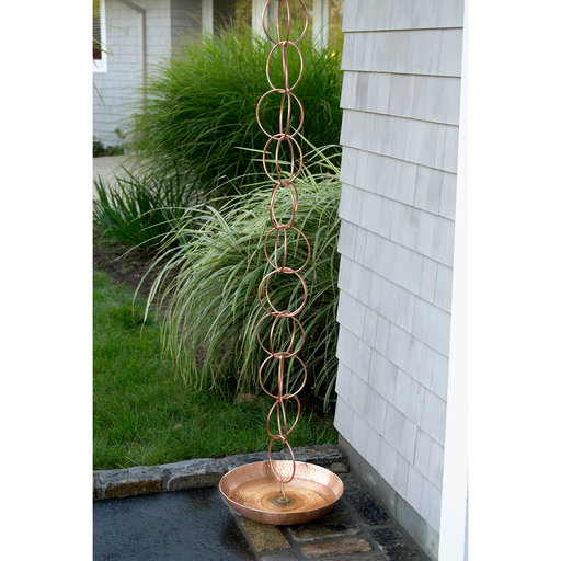 View a Larger Image of Rain Chain Basin, Polished Copper