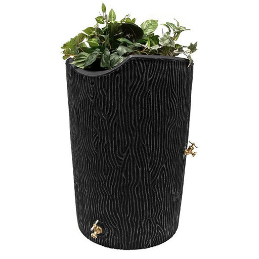 View a Larger Image of Good Ideas Impressions Bark Rain Saver, 50 Gallon, Black