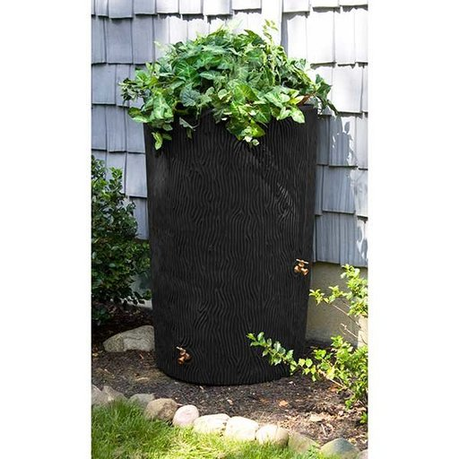View a Larger Image of Good Ideas Impressions Bark Rain Saver, 90 Gallon, Black