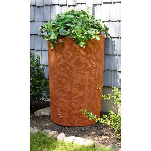 View a Larger Image of Good Ideas Impressions Bark Rain Saver, 90 Gallon, Terra Cotta