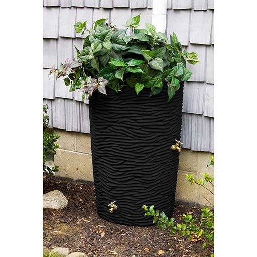 View a Larger Image of Good Ideas Impressions Palm Rain Saver, 65 Gallon, Black