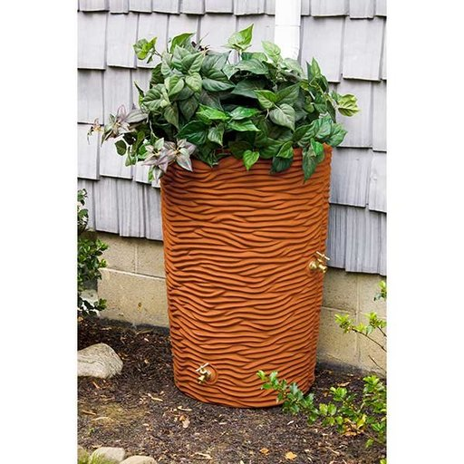 View a Larger Image of Good Ideas Impressions Palm Rain Saver, 65 Gallon, Terra Cotta