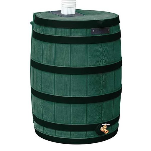 View a Larger Image of Good Ideas Rain Wizard 50 with Darkened Ribs, 50 Gallon, Green