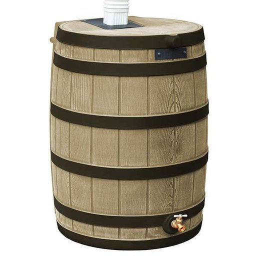 View a Larger Image of Good Ideas Rain Wizard 50 with Darkened Ribs, 50 Gallon, Khaki