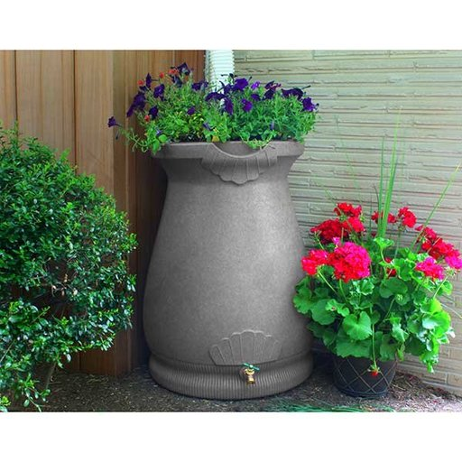 View a Larger Image of Good Ideas Rain Wizard Urn, 65 Gallon, Light Granite