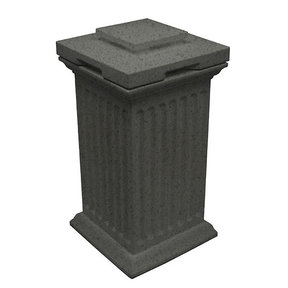 Good Ideas Savannah Column Storage and Waste Bin, 30 Gallon, Dark Granite