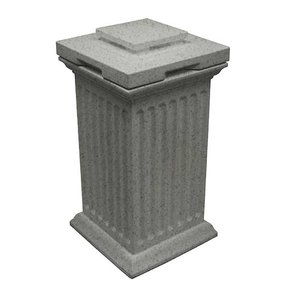 Good Ideas Savannah Column Storage and Waste Bin, 30 Gallon, Light Granite