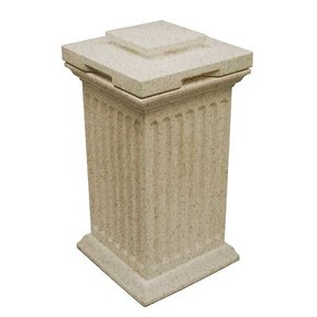 Good Ideas Savannah Column Storage and Waste Bin, 30 Gallon, Sandstone
