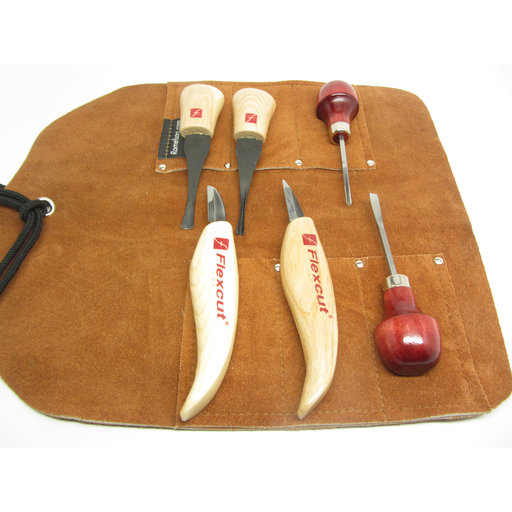 View a Larger Image of Gouge, V Palm Tool set, Flexcut MT 600  and Leather Tool Roll