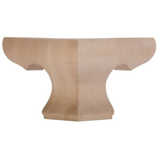 View a Larger Image of Corner Pedestal Bun Foot - Hardwood, Model BFPED-C-H