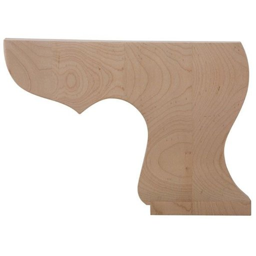 View a Larger Image of Right Pedestal Bun Foot - Alder, Model BFPED-R-A