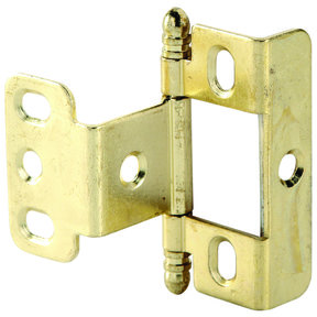 Full Wrap Non-Mortised Decorative Hinge with Ball Finial in Brass Plated Finish - Model# 351.86.820