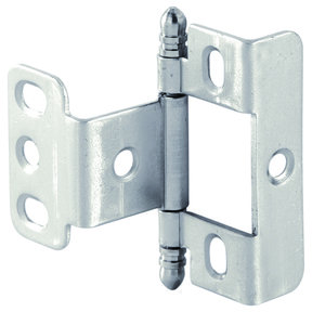 Full Wrap Non-Mortised Decorative Hinge with Ball Finial in Matte Nickel Finish - Model# 351.86.620