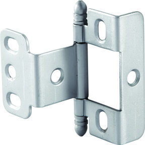 Full Wrap Non-Mortised Decorative Hinge with Ball Finial in Satin Chrome Finish - Model# 351.86.420