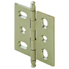 Mortised Decorative Solid Brass Butt Hinge with Finial in Brushed Nickel - Model# 354.22.631