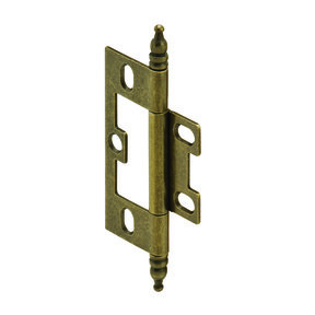Non-Mortise Butt Hinge with Finial in Antique Brass
