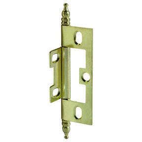 Non-Mortised Decorative Butt Hinge with Finial in Brass Plated - Model# 351.95.570