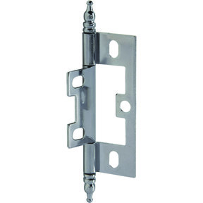 Non-Mortised Decorative Butt Hinge with Finial in Chrome - Model# 351.95.270