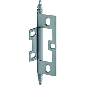 Non-Mortised Decorative Butt Hinge with Finial in Satin Chrome - Model# 351.95.470