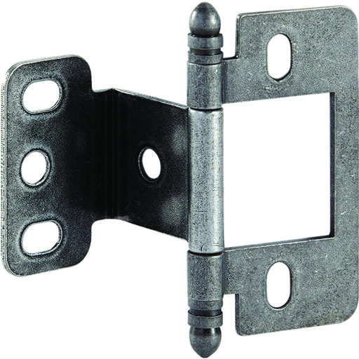 View a Larger Image of Partial Wrap Non-Mortised Decorative Hinge with Ball Finial in Pewter Finish - Model# 351.86.930