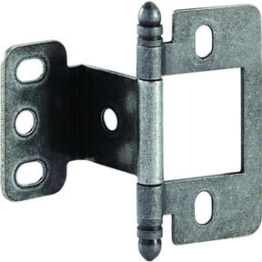 Partial Wrap Non-Mortised Decorative Hinge with Ball Finial in Pewter Finish - Model# 351.86.930
