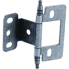 Partial Wrap Non-Mortised Decorative Hinge with Minaret Finial in Pewter Finish - Model# 351.86.910