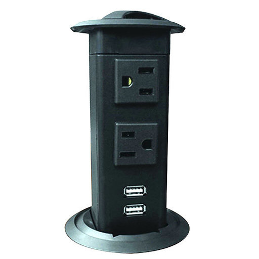 View a Larger Image of Power Pop-Up Station - Two Outlets, Two Charging USB Ports