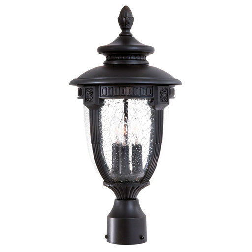 View a Larger Image of Hardwire Decorative outdoor electric post light in Black col