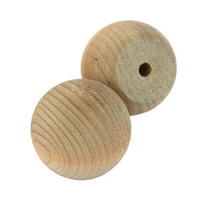 "Hardwood Ball Knob 1-1/4"" D Flat 3/4"" w/screws 2 pc"