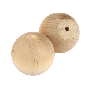 "Hardwood Ball Knob, 1-3/4"" Dia., Flat 3/4"" w/screws 2-piece"