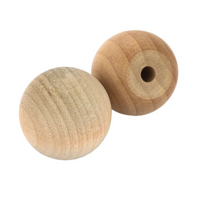 "Hardwood Ball Knob, 1"" Dia., Flat 1/2"" w/screws 2-piece"