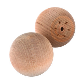 "Hardwood Ball Knob, 2"" Dia., Flat 1-1/4"" w/screws 2-piece"