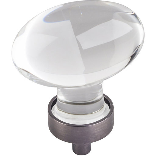 "View a Larger Image of Harlow Large Football Glass Knob,1-5/8"" O.L., Brushed Pewter"