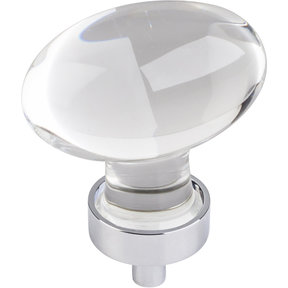 "Harlow Large Football Glass Knob,1-5/8"" O.L., Polished Chrome"