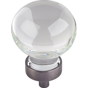 "Harlow Large Sphere Glass Knob, 1-3/8"" Dia.,  Brushed Pewter"