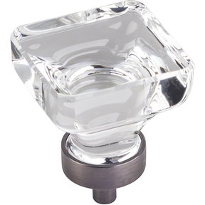 "Harlow Large Square Glass Knob, 1-3/8"" O.L., Brushed Pewter"