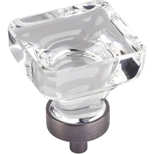 """View a Larger Image of Harlow Large Square Glass Knob, 1-3/8"""" O.L., Brushed Pewter"""