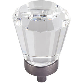 "Harlow Large Tapered Glass Knob, 1-1/4"" Dia.,  Brushed Pewter"