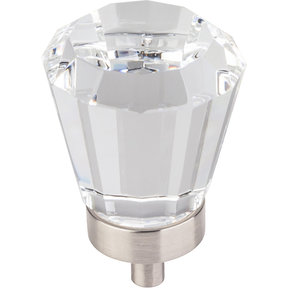 "Harlow Large Tapered Glass Knob, 1-1/4"" Dia.,  Satin Nickel"
