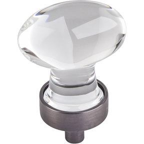 "Harlow Small Football Glass Knob, 1-1/4"" O.L.,  Brushed Pewter"