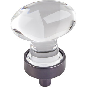 "Harlow Small Football Glass Knob, 1-1/4"" O.L.,  Brushed Oil Rubbed Bronze"