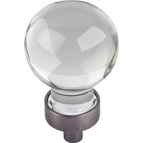 "Harlow Small Sphere Glass Knob, 1-1/16"" Dia Brushed Pewter"