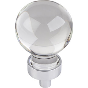 "Harlow Small Sphere Glass Knob, 1-1/16"" Dia Polished Chrome"
