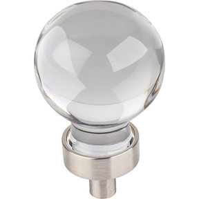 "Harlow Small Sphere Glass Knob, 1-1/16"" Dia Satin Nickel"