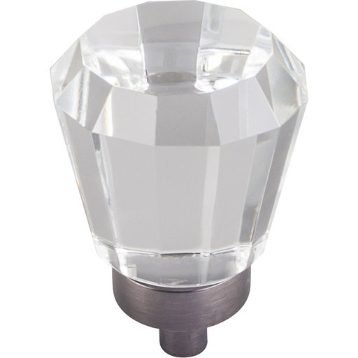 "View a Larger Image of Harlow Small Tapered Glass Knob 1"" Dia  Brushed Pewter"