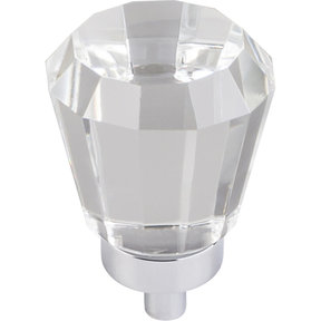 "Harlow Small Tapered Glass Knob 1"" Dia  Polished Chrome"