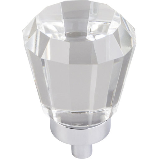 "View a Larger Image of Harlow Small Tapered Glass Knob 1"" Dia  Polished Chrome"